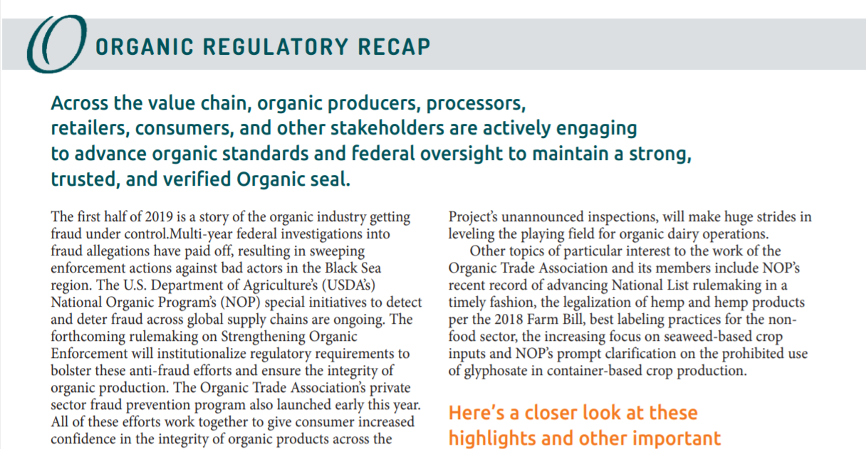 Organic Regulatory Recap